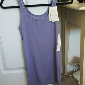 A New Day Lilac scoop neck tank with beaded neckli